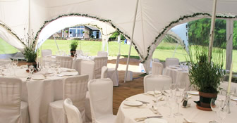 Decorating a wedding marquee