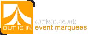 Out Is In marquee hire logo