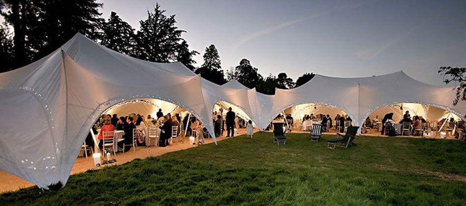 Out Is In Capri Marquee at wedding in Chertsey, Surrey